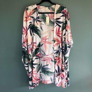 Birds of Paradise Floral Open Viscose Kimono NWT